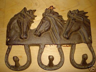 3 Horse Head Hat/Coat Hanger. Wall Mount. Metal -
