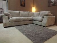 Corner Sofa - left hand. Brown cord 4 seater. Good quality.
