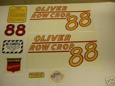 Oliver 88 Row Crop Tractor Decal Set Yellow Numbers New - Free Shipping