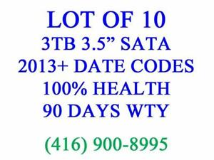 "LOT OF 10 x 3TB SATA 3.5"" DESKTOP HARD DRIVES - 100% TESTED, 100% HEALTH, 90 DAYS WARRANTY"