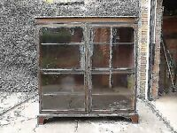 Vintage Mahogany Glass fronted bookcase Display Cabinet with adjustable Shelves