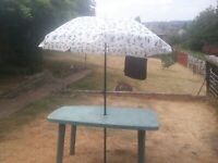 large oblong green outdoor table with matching fabric parasol £25 FREE DELIVERY IN NOTTM.