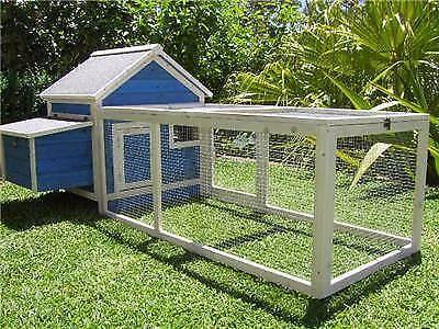 ASSEMBLED Somerzby Blue Cottage Rabbit Hutch Guinea chicken coop