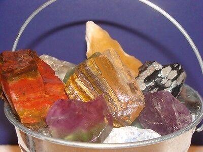 GEMSTONES IN BUCKET - Rocks Minerals Gems Lapidary NICE