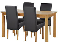 already built up Lincoln Solid Wood Table & 4 Skirted Chairs - Black
