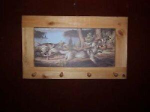 3 Wolves Running Art Framed Peg Board