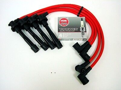 VMS RACING 94-01 ACURA INTEGRA GSR VTEC SPARK PLUG WIRES NGK V-POWER PLUGS RED