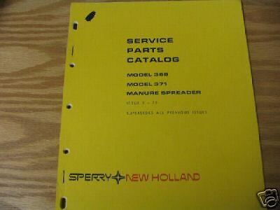 New Holland 368 371 Manure Spreader Parts Catalog