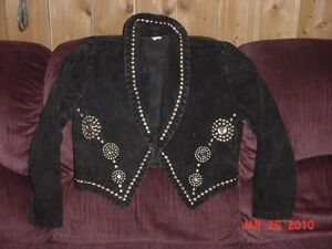 VINTAGE BLACK ROCKER STAGE JACKET WITH STAINLESS DOME STUDS
