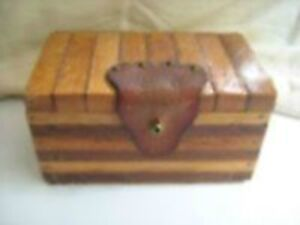 Fancy  Vintage Wooden Box with Leather Trim--$20.