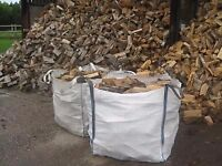 HIGH QUALITY SEASONED HARDWOOD LOGS ONLY £60 A TON BAG + FREE DELIVERY