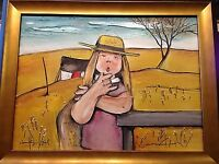 "NORMAND HUDON "" country girl "" HUILE sur MASONITE"
