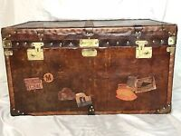 Large Handmade English Leather Luggage Campaign Chest Table Trunk Brass Fixtures