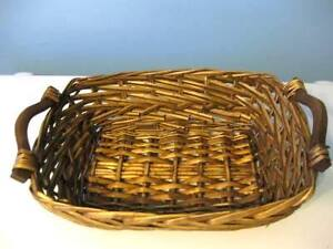 2 WOVEN WOOD HANDLED BASKETS - BROWN