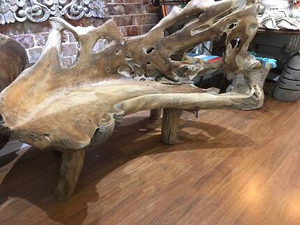 Teak Wood Free Form Bench Seat