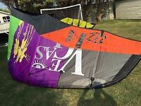 Kitesurfing: Nobile 555 kiteboard - North Vegas 14m - lines - travel bag - board leash