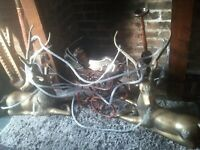 brass deer large matching pair one looks to the left and one to the right (NG5)