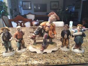 Men statues, Crystal, Cast lamp base, loonie toons, candy dish