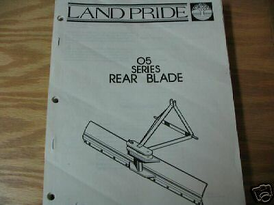 Land Pride 05 Series Rear Blade Operator Parts Manual