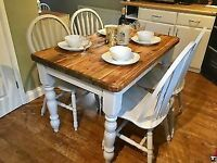 Farmhouse / Country Rustic Dining table & chairs Refurbished in Farrow And Ball paint.