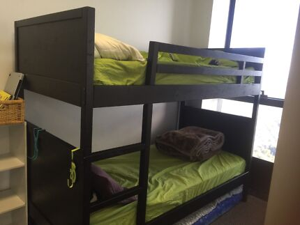 Bunk bed from IKEA with 2 single mattresses.