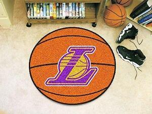 NBA - Basketball Mat 27 Inch Diameter Durable Floor Protector Non Skid Rug Mat (Los Angeles Lakers)
