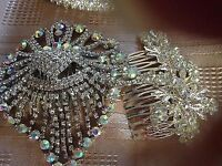 2 Crystal Tiaras and 2 Crystal Hair Combs