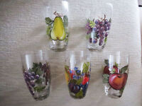 Decorative Tall Painted Drinking Glasses - Hand Painted