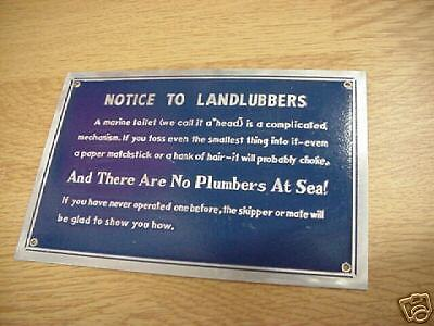 Notice to Landlubbers plaque sign 4