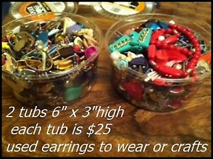 Earrings $25 each and Beads for Crafts $20