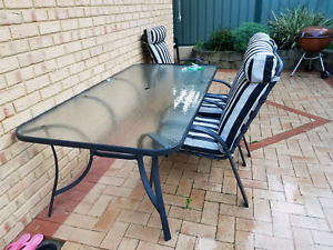 Outdoor glass table and an 8 chairs Brentwood Melville Area Preview