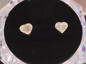 #1130 10K HEART SHAPED DIAMOND EARRINGS!!