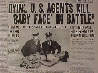 VINTAGE NEWSPAPER HEADLINE~CRIME CHICAGO GANGSTER BABY FACE NELSON GUN SHOT DEAD
