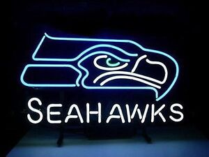 Seattle Seahawks Glass Neon Sign (New)