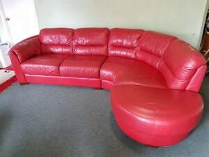 REDUCED $750 - Nic Scali - Red Modula Leather Lounge Glass House Mountains Caloundra Area Preview