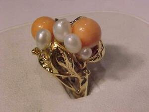 #3205-14K ANTIQUE CORAL & PEARL DRESS RING SIZE 6 3/4-8.50 gms-WILL SHIP TO CANADA & EBANK TRANSFER ONLY-FREE SHIPPING