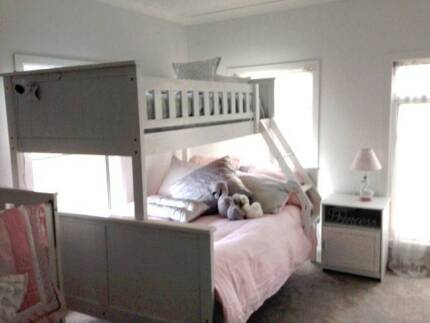 White Solid Pine Timber Trio Bunk Bed