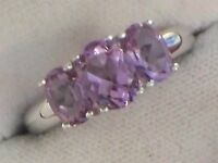 LADIES RING INSET WITH 3 GENUINE AMETHYSTS
