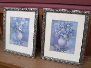 2 Stunning Wall Pictures in Beautiful Pewter colored frames!