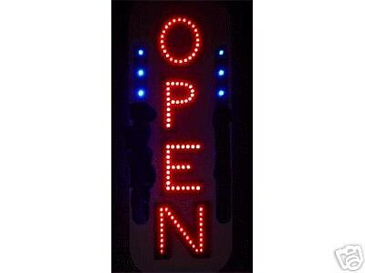 New Vertical Led Neon Open Sign With Blue Led Animation