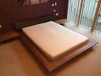 "King Size Platform Bed Frame . Walnut Veneer . Leather headboard . ""JAY BE"" brand"