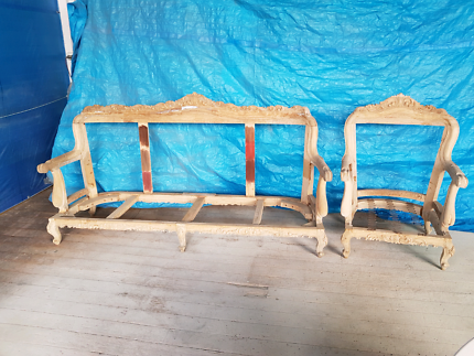 Antique carved lounge & chair frames