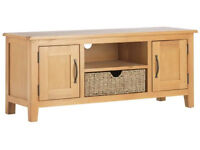 Somerby 2 Door TV Unit with Seagrass Basket- Oak