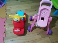 Childs car and baby walker pram