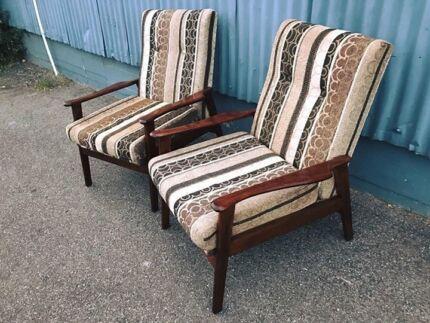 Beautiful pair of restored solid tas oak mid century armchairs