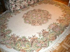 Indo Aubusson Oriental Wool Carpet - Rug 9' x 12'