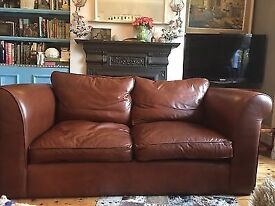Brown leather, Laura Ashley 2 seater Sofa