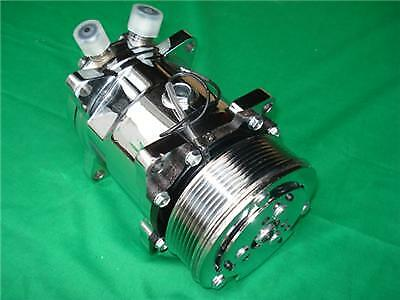 Chrome Serpentine 508 Sanden Style Air Compressor  1928 30 32 40 46 Ford Chevy