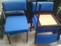 MEETING, CONFERENCE, WAITING, RECEPTION blue upholstered chairs x 3 (NG5)