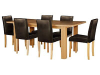 Shenley Oak Veneer Extendable Dining Table and 6 Choc Chairs